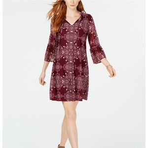 STYLE & CO Petite Printed Bell-Sleeved Dress